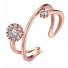 Classic Ladies Rose Gold Rings Simple Round Cubic Zircon Stone Open Ri found on Polyvore featuring jewelry, rings, zircon rings, rose gold jewellery, rose gold rings, stone jewellery and red gold jewelry