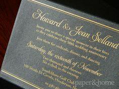 Golden Anniversary Invitations Las Vegas: Jean & Howard. Golden Anniversary Invitation with Gold Foil on Black Shimmer Paper. #pinoftheday