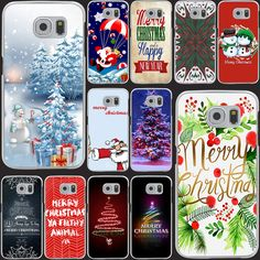 Merry Christmas Happy New Year Transparent Hard Case Cover for Smasung Galaxy S5 Mini A3 A5 A7 A8 Note 2 3 4 5