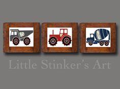 Trucks Kids Wall Art, transportation Art Print, Car Art, Boy's Wall Art, baby nursery print, Kids Playroom Ar