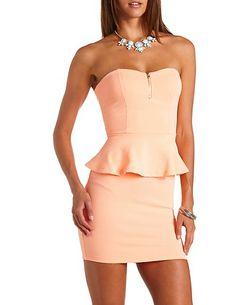 Textured Zip-Up Strapless Peplum Dress: Charlotte Russe