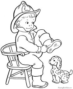 Boy Halloween coloring page!