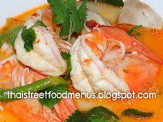 how to make Tom yum gung how to make thai Shrimp hot and sour soup menu. Thai Curry Shrimp hot and sour soup menu with pictures,Tom yum. Grilled Catfish, Grilled Pork, Thai Shrimp, Curry Shrimp, Thai Recipes, Shrimp Recipes, Best Thai Dishes, Soup Menu, Thai Food Menu