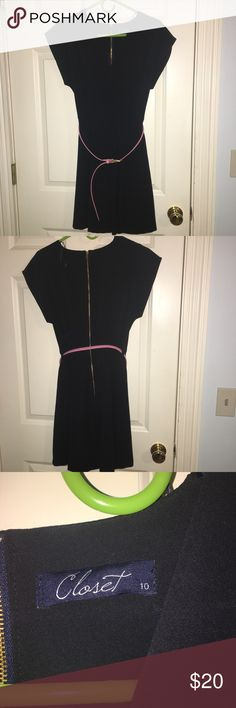 Fit and slightly flare dark navy/black dress Bought in the UK. UK size 10. Dark navy/almost black fit and flare dress perfect for the office. Pink belt is detachable. Conservative neckline. Never worn. Closet Dresses