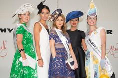 2015 Myer Fashions on the Field SA State Final winner Gabriella De Ieso (pictured in the middle) with Myer Ambassador #JodiAnasta, 2014 National Myer Fashions on the Field Winner and VRC representative #BrodieWorrell with 1st runner up Melissa Barnes (pictured right) and 2nd runner up Jen March (pictured far left).