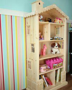 """Стеллаж-домик для детских игрушек. Детская мебель и декор от мастерской """"Wood Luck""""."""