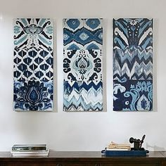 Madison Park Flourish Ikat Gel Coat Canvas Set in Blue - Olliix worldly style to your home with this triptych set. Flourish Ikat includes 9 different patterns in a cool blue color palette. The set is printed on canvas panels and light c 3 Piece Art, 3 Piece Painting, Ikat Painting, Painting Prints, Canvas Art Prints, Canvas Wall Art, Blue Canvas, Canvas Walls, Blue Colour Palette