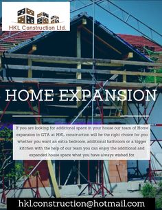 Our team has the expertise in planning and designing the home expansion you are looking for. At HKL construction we have a huge list of home expansion services we provide to our clients whether it's home expansion or the addition of several rooms to your current space.Call @HKLConstructionLtd. at 647-713-8339 now. In Plan, How To Plan, Extra Bedroom, Big Kitchen, The Expanse, The Help, Construction, Rooms, Space