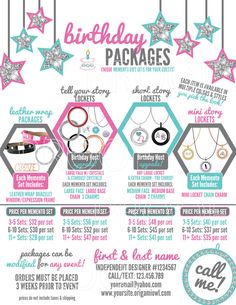 Birthday Package Graphic/Flyer (US & CAD) – Personalized w/ Designer Info – Origami Owl Inspired by ajmOWLdesigns on Etsy