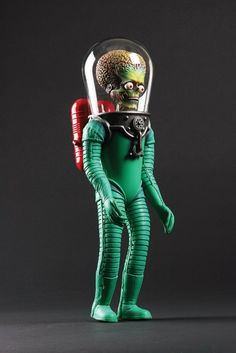 "Mars Attacks! Original ""Martian in Space Suit"" Stop-Motion Animation Puppet / from the film directed by Tim Burton, 1996 / 16 in. tall, built of a steel and aluminum armature, covered in foam latex which has been painstakingly airbrushed to the highest detail"