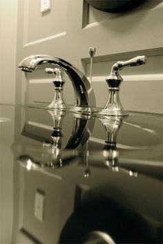 The Devonshire faucet from Kohler, we filled up the cast iron sink and took this image.