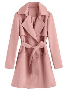 Belted Double Breasted Lapel Coat - PAPAYA S