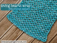 "Free Crochet Pattern   Loving Hearts Wrap Hook: 4.50 mm (7) Yarn: Patons Glam Stripes (Light - 3) (2 balls) Gauge:  ""5 ch, work a picot of [1 sc ,3 ch, 1 sc] into the 3rd ch of the next 5 ch a..."