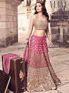 Beautiful Pink & Gold Embroidered #Lehenga.