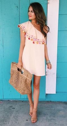 1 shoulder summer dress outfits - I love Summer dress Beauty And Fashion, Look Fashion, Passion For Fashion, Womens Fashion, Dress Fashion, Fashion Outfits, Look Boho, Look Chic, Summer Outfits