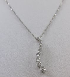 10KT WHITE GOLD .25 CT JOURNEY STYLE DIAMOND PENDANT BY DESIGNER SOL W/ NECKLACE #SOL