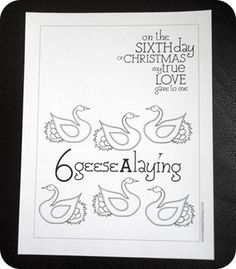 Need to remember to print these for the kids.  12 days of Christmas coloring pages.