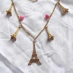 a5656a9c3 Items similar to Vintage Eiffel Tower Charm Paris themed Choker Necklace  Gold Chain 25.5-28