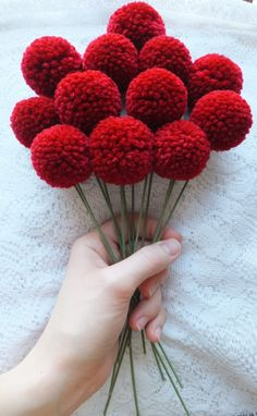 Dark red yarn pom pom flowers with green stem wire. Set of 12 flowers that are about inches long and flowers are about inches wide. Great for Valentine's Day! Pom Pom Flowers, Felt Flowers, Diy Flowers, Christmas Pom Pom, Christmas Diy, Pom Pom Crafts, Yarn Crafts, Craft Stick Crafts, Diy And Crafts