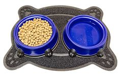 Everlast Pet Toys  Dog Bowls  Mat Bundle for Feeding Stations  AntiSlip 225 x 17 Rubber Based Floor Protector Cover  2 32oz Deep Plastic Bowls  1 Seller  For All Breeds And Sizes -- Check out the image by visiting the link.-It is an affiliate link to Amazon. #CatFeeding
