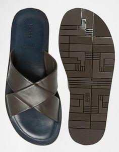 Hugo Boss | Boss Black Hamper Cross Over Leather Sandals at ASOS Nigerian Men Fashion, Mens Fashion, Gents Slippers, Versace Sandals, Men's Shoes, Shoe Boots, Business Shoes, Boss Black, Slipper Sandals