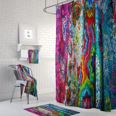 Boho Chic Shower Curtain Optional Bath Mat Bathroom Set Gypsy Rags Three Abstract Boho Chic Shower C Bathroom Plants, Boho Bathroom, Diy Bathroom Decor, Bathroom Colors, Bathroom Rugs, Bathroom Styling, Bathroom Ideas, Small Bathroom, Remodled Bathrooms