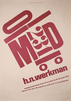 RARE Original 1960s H.N. Werkman Design Poster - by PosterConnection Inc.