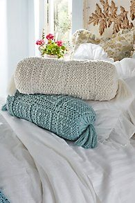 Crochet Knit Bolster Pillow #LuxuryBeddingSoftSurroundings