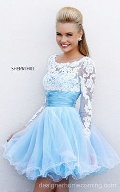 2014 Blue White Sherri Hill 21234 Homecoming Dress Short