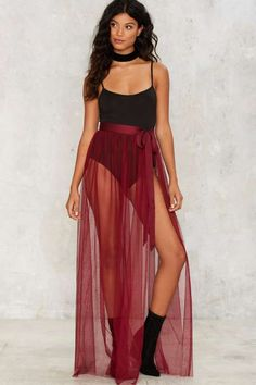 Nasty Gal Tulle Intentions Wrap Skirt - Burgundy