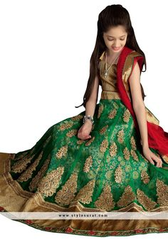Green Color Lycra Fabric Girl's Circular Lehenga Choli Lehenga Choli, Kids Wear, Green Colors, Fabric, Girls, How To Wear, Fashion, Tejido, Moda
