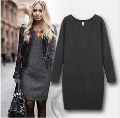 Long Sleeve And Soft Nap Casual Dress - J20Style - 1