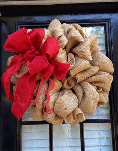 Red Burlap wreath. $68.00, via Etsy.