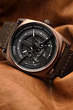Our Anomaly 01 Brown PVD looks amazing with this leather strap Watch Wallpaper, Cool Wallpaper, Mechanical Watch, Omega Watch, Watches, Live, Brown, Amazing, Leather