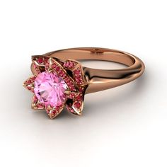 Round Pink Sapphire 14K Rose Gold Ring with Ruby | Lotus Ring | Gemvara