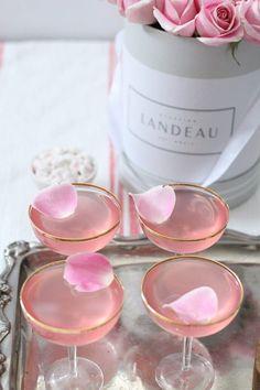 Valentine's Drinks: Lady Rose - Jillian Harris Champagne Drinks, Pink Cocktails, Pink Drinks, Valentine Drinks, Valentines, Rose Drink, Pink Food Coloring, Jillian Harris, Toddler Travel