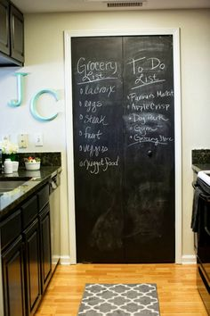 Paint a door in your kitchen with chalkboard paint to remember grocery lists (and the kids can help too)!