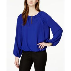 Vince Camuto Pleated Long-Sleeve Peasant Blouse ($79) ❤ liked on Polyvore featuring tops, blouses, indigo, blue long sleeve top, blue peasant top, blue blouse, long sleeve peasant top and pleated blouse