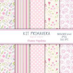 Kit Papel Digital Primavera - Charme Papeteria #digital #paper #spring #primavera #flores #rosa #verde