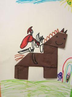 ……mamamisas welt……: Sankt Martin auf dem stolzen Pferd …… mamamisa's world ……: Saint Martin on the proud horse Hl Martin, Kindergarten Portfolio, Haute Marne, Arts And Crafts, Paper Crafts, Woodland Party, Horse Care, Diy For Kids, Activities For Kids