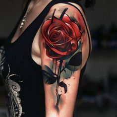 Airbrush style red rose tattoo by Uncl Paul Knows