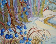 Blue Winter Berries Two SBC | www.dailypaintworks.com/finear… | Flickr Cute Cottage, Cottage Art, Storybook Cottage, Fantasy Drawings, Painted Cottage, Vintage Book Covers, Winter Art, Painted Paper, Whimsical Art