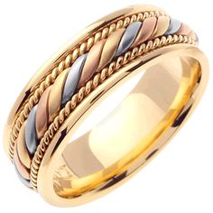 14K Tri Color Gold Braided Coil Twist Wedding Band (7mm)