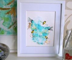 Bee Watercolor Painting, Original, Fine Art, Flight of the Bumblebees No. 11  SOLD