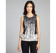 jaye.e black and white printed peplum sleeveless top
