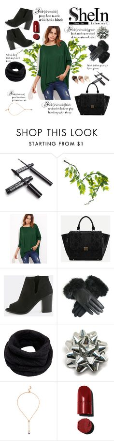 """""""SHEIN Green Boat Neck Oversized Dolman Sleeve T-shirt"""" by miss-maca ❤ liked on Polyvore featuring National Geographic Home, Helmut Lang and Urban Decay"""