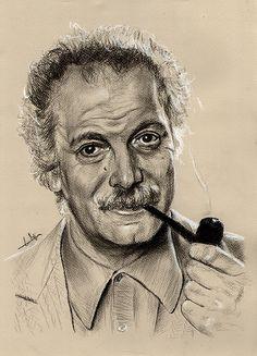 Portrait Georges Brassens, fusain.