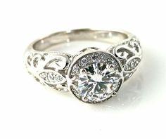 14K Vintage Diamond Halo Semi Mount Engagement Ring by RareEarth