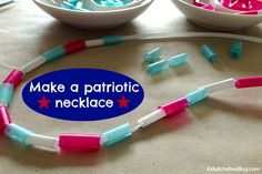 Holiday Hulabaloo - Such a cute idea to make ahead for a of July celebration! Fourth of July Crafts: {Kid Made} Patriotic Jewelry Toddler Crafts, Preschool Crafts, Kid Crafts, Preschool Themes, Preschool Printables, Preschool Classroom, Classroom Ideas, Fourth Of July Crafts For Kids, 4th Of July Celebration