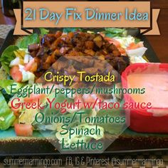 21 Day Fix Dinner.  Vegan/vegetarian taco salad.  Color of font indicates which containers used. www.facebook.com/summermarmingo